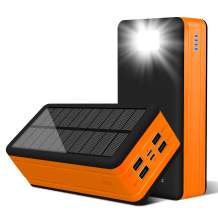 PSOOO Solar Power Bank 50000mAh Phone Charger for Caming Supply with 4 Output 2 Input Ports Type C USB Charging Flashlight Huge Capacity (Orange)…