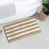 Seavish Luxury Chenille Bath Rugs, 17.7 x 23.6 Khaki and White Shaggy Bathroom Rugs Mats, Non Slip Soft Comfortable Water Absorbent Machine Washable Bath Mat Thick Plush Carpet Mats for Tub Shower