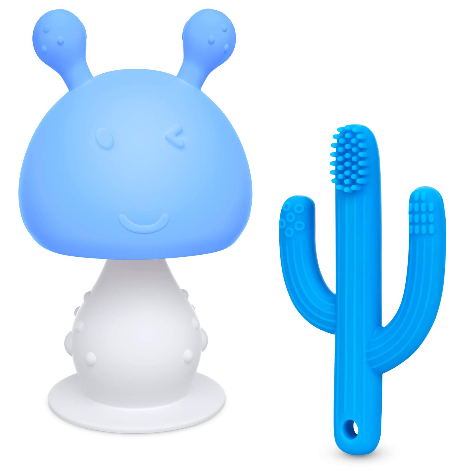 SHARE&CARE BPA Free Baby Teething Toys Set, 1pc Infant Rattling Mushroom Baby Teether Toys and 1pc Silicone Cactus Toothbrush Teether, Cute Chew Toys for Boys Girls Babies Toddlers Newborn (Blue2)