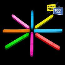 Lumistick 1.5 Inch Fishing Glow Sticks | Bright Color Snap Lights Glowsticks | Neon Mini Light for Swimming | Glow in The Dark Camping Night Party Favor Supplies (Assorted, 100 Glow Sticks)