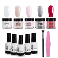 NMKL38 Dipping Powder Kit Without Lamp Cure Natural Dry 5 Color Powder, 5 Bottle Liquid, Brush, Nail Files