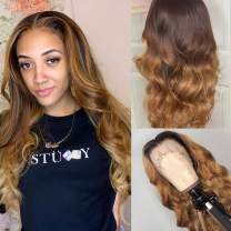 Lace Front Wigs T Part Body Wave Wigs for Black Women Middle Part Human Hair Wigs Ombre 4/27 Lace Front Wigs 150% Density Pre Plucked with Baby Hair (16inch, Ombre 4/27 Body Wave Wig)