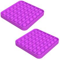 2 Pack Push Pop Pop Bubble Fidget Toy - Stress Reliever Extrusion Push Bubble Press Sensory Toy for Autism, OCD, Special Needs, Anxiety Help Restore Emotions (Square Purple)
