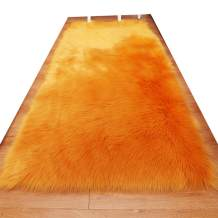 HUAHOO Faux Fur Sheepskin Rug Camel Kids Carpet Soft Faux Sheepskin Chair Cover Home Décor Accent for a Kid's Room,Childrens Bedroom, Nursery, Living Room or Bath. 4' x 6' Rectangle