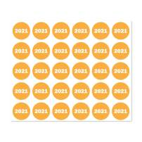 300 Labels - Color-Coded 2021 Year Stickers for Inventory Quality Control (0.75 inch Round Orange - 10 Sheets)