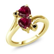 Gem Stone King 10K Yellow Gold Red Created Ruby Women Heart Shape Diamond Accent Ring (1.96 Cttw)