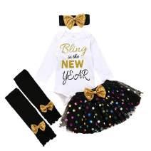 My 1st New Year Outfit Newborn Baby Girl Clothes Romper Top+Tutu Tulle Polka Skirt+Leg Warmer+ Headband 4PCS Dress Set