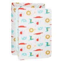 UOMNY Playard Sheets,Pack and Play Sheet Fitted Playard Mattress Sheet,100% Natural Cotton Mini Portable Crib Sheets for Boys and Girls 1 Pack White Lion Pack n Play Playard Sheet