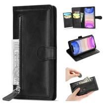 L-FADNUT Case for iPhone 11 Wallet Case 5 Card Slots Premium Leather Zipper Purse Case Flip Kickstand Folio Magnetic Phone Case Handbag Protective Cover for iPhone 11 Black