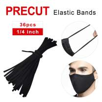 Elastic Bands for Sewing 1/4 Inch Width, 36pcs Precut Elastic String Cord Strap Bands Rope for Sewing Crafts and DIY Mask - Black