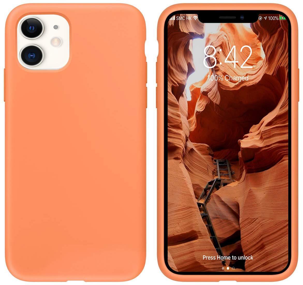 """IceSword iPhone 11 Case, Orange iPhone 11 Silicone Case, Gel Rubber Full Body, iPhone 11 Cute iPhone 11 case, Soft Microfiber Cloth, 6.1"""" iPhone 11 case Silicone, iPhone 11 case Cute - Orange"""