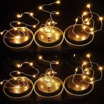POPPAP Solar Jar Lid Lights Decorative Fairy String Lights for Mason Jars Plastic Mason Jar Lids Lights /6Lids 10LED 39.37inch Length Warm Lighting