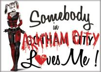 """Ata-Boy DC Comics Somebody in Arkham City Loves Harley Quinn 2.5"""" x 3.5"""" Magnet for Refrigerators and Lockers"""