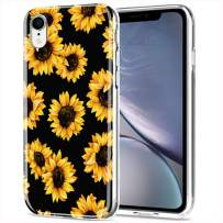 LYWHL iPhone XR Case Cute AIKIN Simply Designed Flower Pattern Case Ultra Thin Soft TPU Flexible Shockproof Cute Protective Case Floral for iPhone XR 6.1 inch (Sunflower/Black)