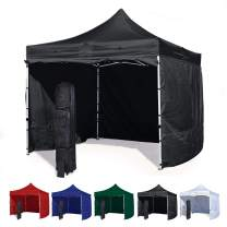 Vispronet 10x10 Canopy Tent and 4 Sidewalls – Economy Edition – Durable Steel Frame, Water-Resistant Canopy Top and Side Wall – Bonus Wheeled Canopy Bag and Premium Stake Kit (Black)