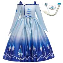 LZH Little Girls Elsa Anna Costume Dress Fancy Cosplay Birthday Party Dress Up with Accessories
