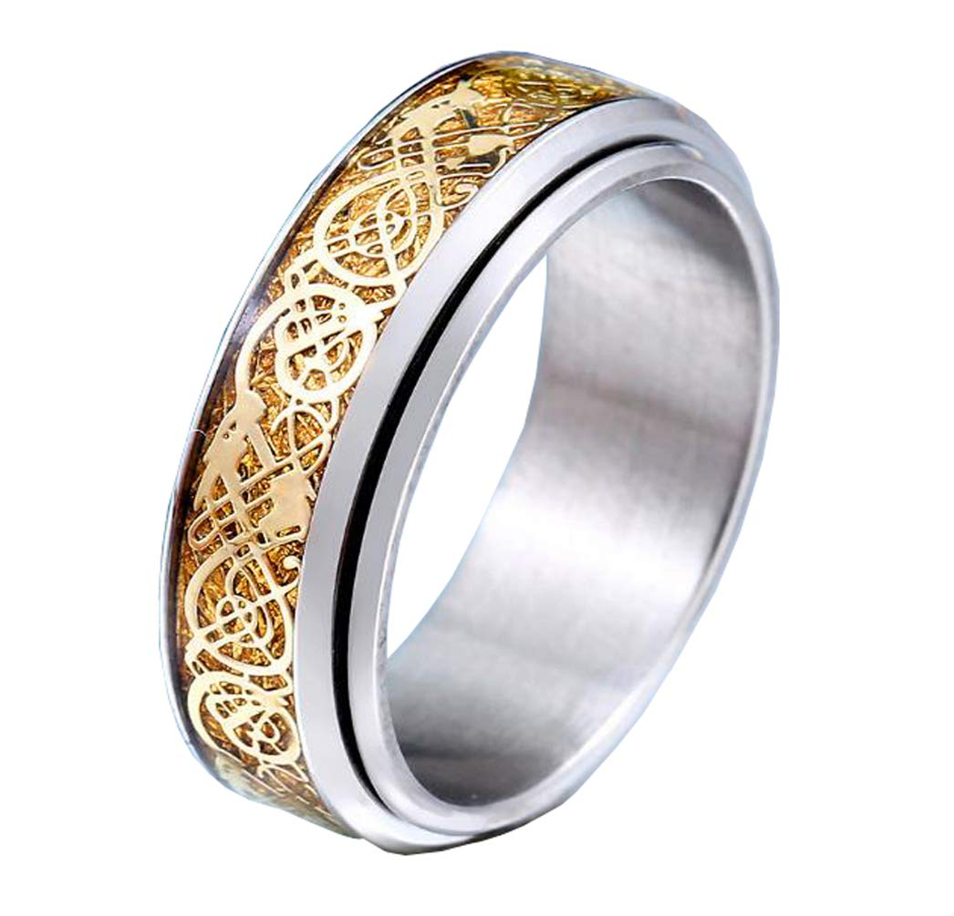 HIJONES Unisex Carbide Fiber Celtic Dragon Spinner Ring Stainless Steel Wedding Spins Band