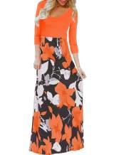 Bluetime Women's 3/4 Sleeve Floral Print Loose Casual Long Maxi Dress (S-3XL)