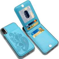 LakiBeibi iPhone XR Cases with Card Holder, Flower Series Slim PU Leather iPhone XR Case for Girls Wallet Flip Full Body Protective Case with Screen Protector for iPhone XR (2018) 6.1 Inches,Lake Blue
