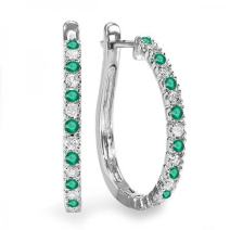 Dazzlingrock Collection 14K Round Ladies Hoop Earrings, White Gold