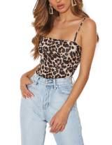 Queen.M Women's Sexy Bodysuit Leopard Spaghetti Strap Cami Leotard Top Sleeveless Bodycon Jumpsuit Onesie Romper