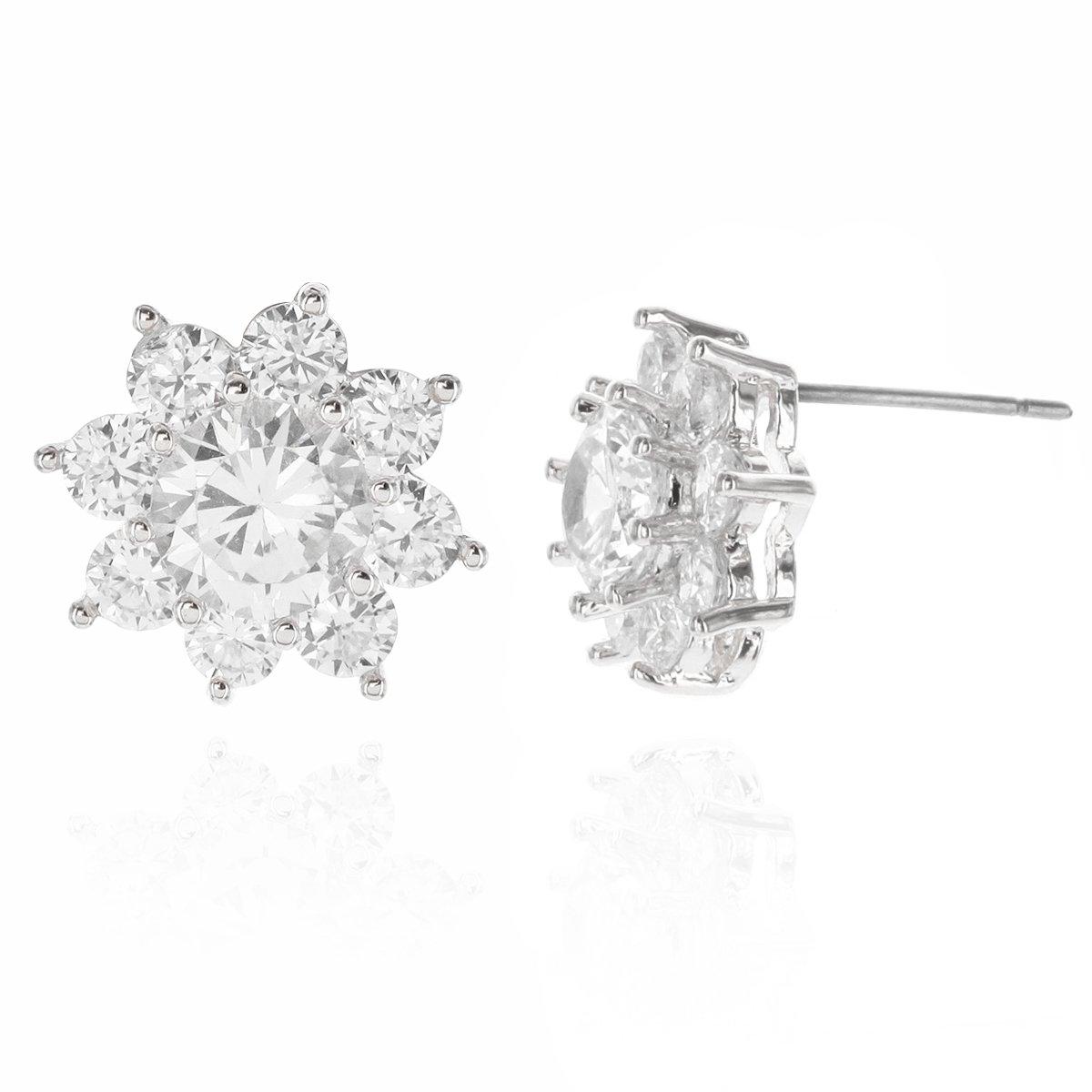 Flower Star Burst Round AAA Cubic Zirconia Women's Fashion Jewelry Accessories Stud Earrings