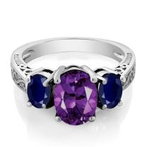 Gem Stone King Sterling Silver Purple Amethyst and Blue Sapphire 3-Stone Women's Ring (2.76 Cttw, Gemstone Birthstone Available 5,6,7,8,9)
