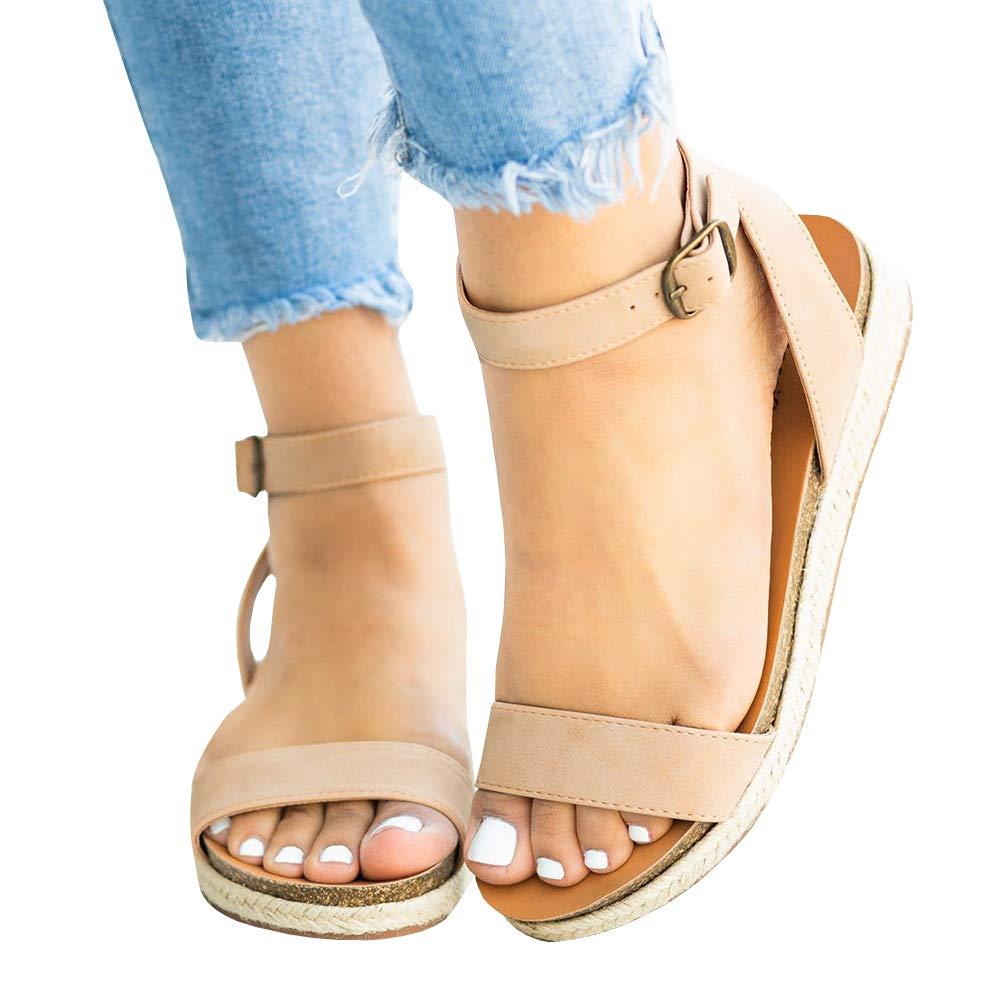 PiePieBuy Women's Flat Espadrille Ankle Strap Buckle Open Toe Summer Slingback Platform Dress Sandals