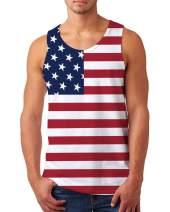 uideazone Men Graphic Tank Top USA Flag Patriotic Singlet American Flag Stripes Sleeveless Shirt