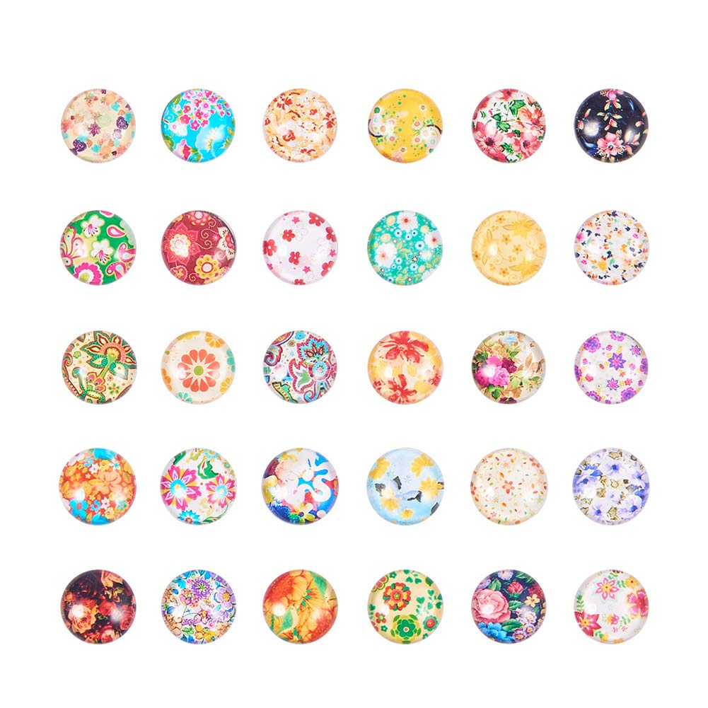 PH PandaHall 190pcs 12mm Flower Printed Glass Cabochons Mixed Color Half Round Dome Cabochons Mosaic Tile for Photo Pendant Jewelry Making