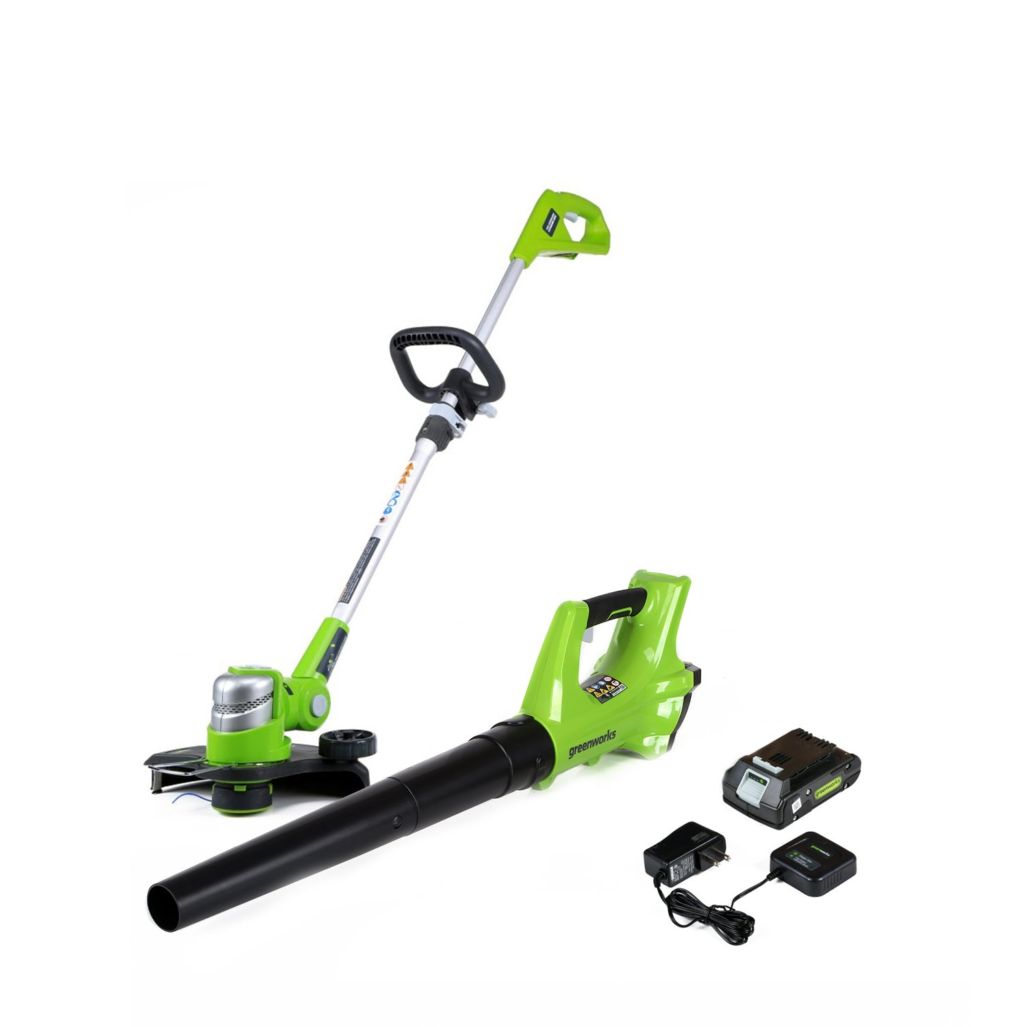 Greenworks 24V Cordless String Trimmer & Blower Combo Pack, 2.0Ah Battery and Charger Included STBA24B210