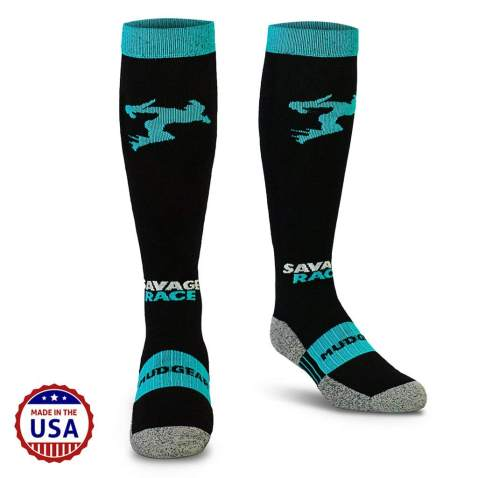 MudGear Savage Race Compression Socks - Over The Calf Running Socks for Obstacle Racing Men and Women