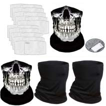 4 Pcs Neck Gaiter Face Cover Scarf with 20 Pcs Carbon Filters - Breathable Gator Mask Bandanas(6PCS-gray12)