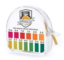 "Kombucha Instant Read pH Strips Dispenser - pH Range 0-6 - 15 ft Roll   180 1"" Inch Strips   Single Roll   Food Service, Brewing and Fermentation Test Strips"