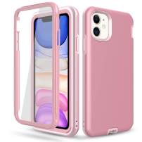 DONWELL Compatible iPhone 11 Case Hybrid Full Body Case with Built-in Screen Protector Three Layer Shockproof Case Cover Compatible with iPhone 11 / iPhone 11R 6.1 inch 2019 (Rose Gold)