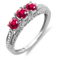 Dazzlingrock Collection 14k Round White Diamond And Ruby Ladies Vintage Bridal 3 Stone Engagement Ring, White Gold