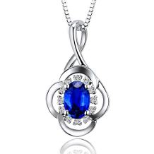 Lanmi 14K White Gold Natural Blue Sapphire Necklace Pendant with Diamonds for Women
