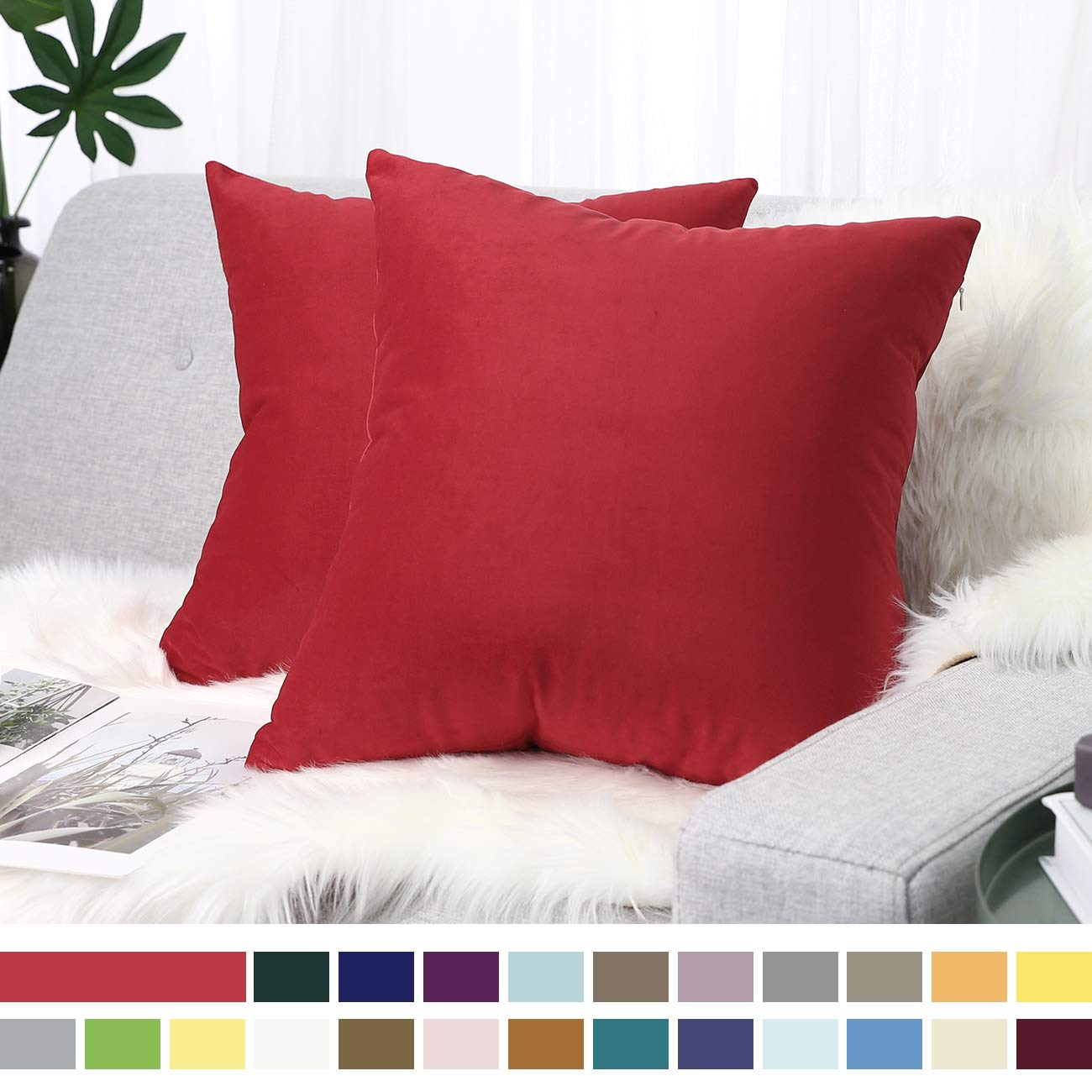 """Lewondr Velvet Soft Throw Pillow Cover, 2 Pack Modern Solid Color Square Decorative Throw Pillow Case Cushion Covers for Car Sofa Bed Couch Home Christmas Decor, 18""""x18""""(45x45cm), Red"""