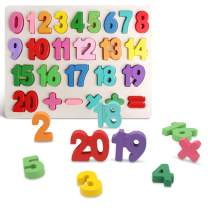 Wooden Number Puzzles, Preschool Educational Learning Board Toys for 2-5 Years Old Kids Toddlers