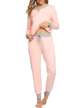 Hawiton Womens Long Sleeve Pajamas Set Cotton PJ Lounge Nightgowns with Pockets