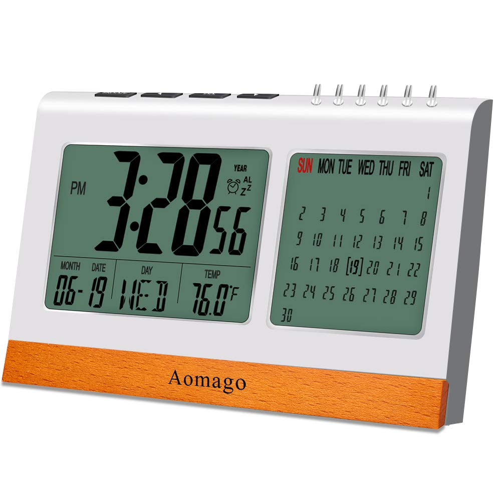 Digital Alarm Clock Battery Operated for Bedrooms, Aomago Desk Clock Office with Snooze, Calendar, Temperature Display(℉/℃)