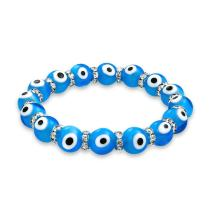 Bling Jewelry Turkish Glass Bead Evil Eye Stretch Bracelet for Women for Teen Rondelle Crystal Spacer StackableProtection More Colors