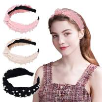 Pearl Headbands - Twisted Velvet Wide knot headband for women,Turban Headbands with Faux Pearl, Elastic Hair Hoops Fashion Hair Accessories for Women and Girls