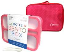 Bento Lunch-Box and Bag Kit for Girls, Kids, Toddlers Women. Leakproof 6 Compartment Lunch Boxes. School Bentobox, Meal Prep Containers with Dividers. BPA-Free, Utensils Pink