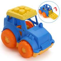 LotFancy Beach Dump Truck Toy for Kids, Sand Trucks for Improving Gross Motor, Construction Vehicle Toys for Toddlers, BPA Free, Phthalates Free, Yellow / Blue / Orange, 9 Inch