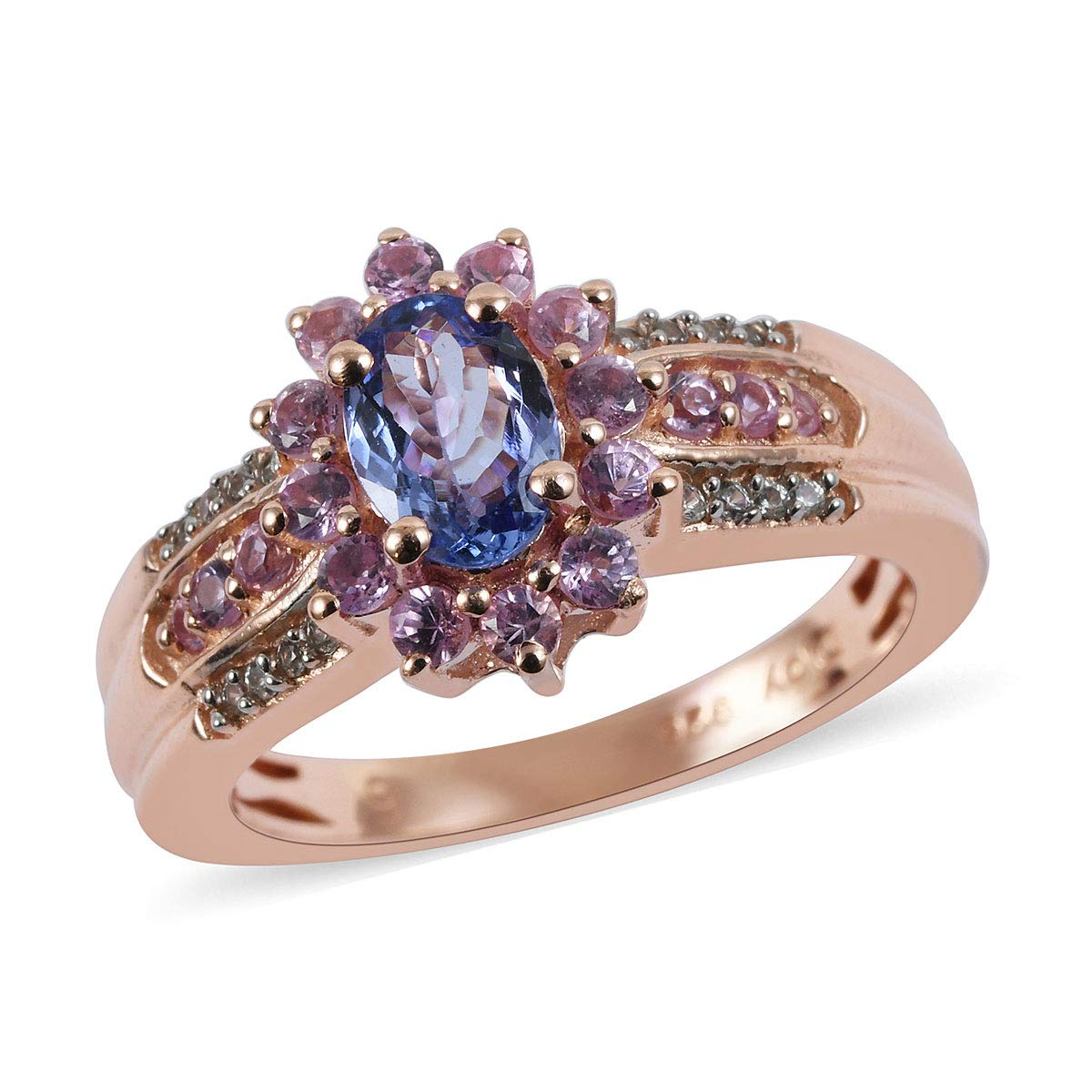 Stylish Unique Elegant 925 Sterling Silver AA Premium Blue Tanzanite Pink Sapphire Ring Vermeil Rose Gold Plated Women Gift Jewelry Size 6 Ct 1