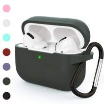 HUMENN Protective Cover Compatible with AirPods Pro Case, Shock-Absorbing Soft Slim Silicone Case Cover for Airpods pro 2019 [Front LED Visible] with Keychain (G,Olive)