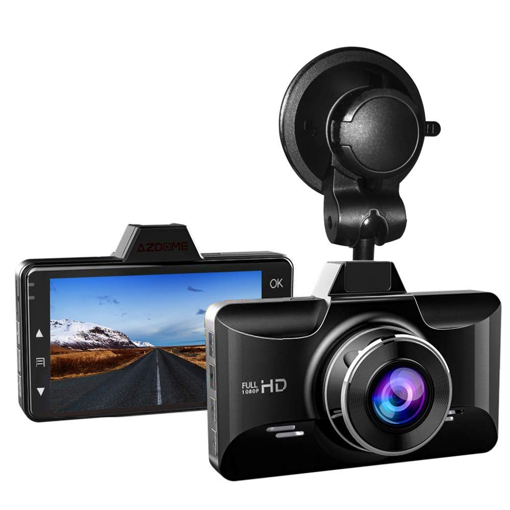 AZDOME Dash Cam with Driver Fatigue Reminder, 3 inch 2.5D IPS Screen 1080P FHD Dashboard Car Camera with G Sensor/Parking Monitor/Loop Recording/Motion Detection /170° Wide Angle