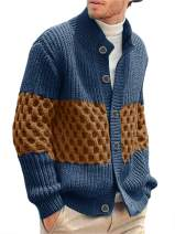 Hestenve Mens Stylish Cable Knitted Button Cardigan Sweater Chunky Stand Collar Sweaters