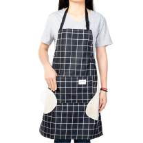 Lelinta Erasable Hand Waterproof Kitchen Apron,Womens Aprons with Pockets,Adjustable Neck Belt Apron for Home Kitchen Restaurant Coffee House